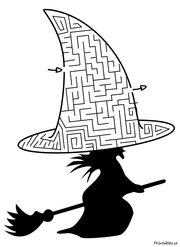 picture about Witch Hat Printable identified as Maze: Witch hat (absolutely free printable)