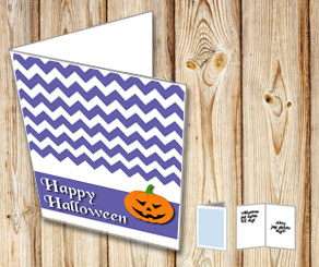 Purple Halloween card with a pumpkin  | Free printable for Halloween