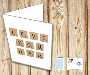 White cards with scrabble letters LOVE YOU DAD  | Free printable for Fathers day