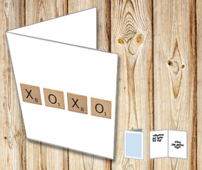 White cards with scrabble letters XOXO  | Free printable for Valentines day