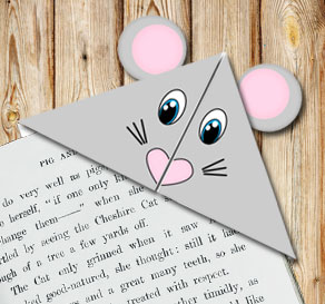 Corner bookmark: Mouse  | Free printable craft