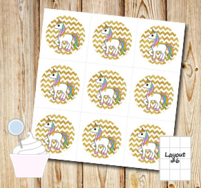 Cupcake toppers: Golden chevron pattern with unicor...  | Free printable cupcake wrappers and toppers