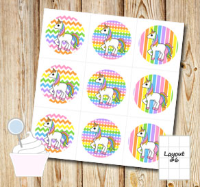 Light rainbow colored cupcake toppers with unicorns  | Free printable cupcake wrappers and toppers