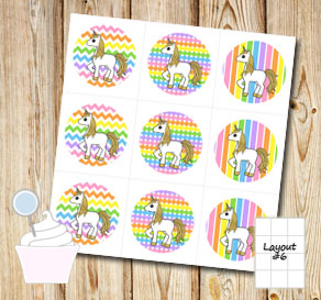 Light rainbow colored cupcake toppers with unicorns 3  | Free printable cupcake wrappers and toppers