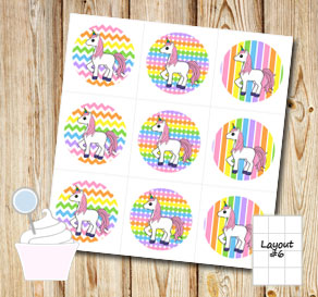 Light rainbow colored cupcake toppers with unicorns 2  | Free printable cupcake wrappers and toppers
