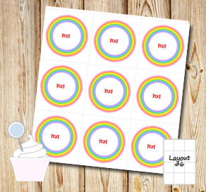 Striped cupcake toppers with a light rainbow and text  | Free printable cupcake wrappers and toppers