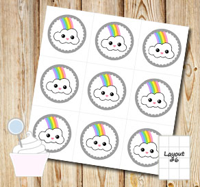 Cupcake toppers with light rainbows and clouds  | Free printable cupcake wrappers and toppers