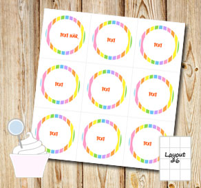 Striped cupcake toppers in light rainbow colors wit...  | Free printable cupcake wrappers and toppers