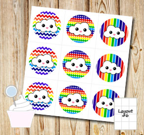 Rainbow colored cupcake toppers with clouds  | Free printable cupcake wrappers and toppers