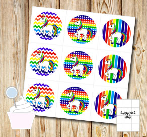 Rainbow colored cupcake toppers with unicorns  | Free printable cupcake wrappers and toppers