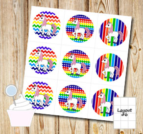 Rainbow colored cupcake toppers with unicorns 2  | Free printable cupcake wrappers and toppers