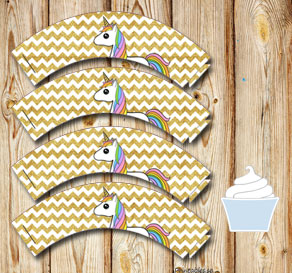 Chevron pattern cupcake wrappers with gold glitter ...  | Free printable cupcake wrappers and toppers