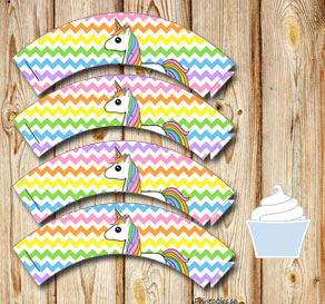 Chevron pattern cupcake wrappers in light rainbow c...  | Free printable cupcake wrappers and toppers