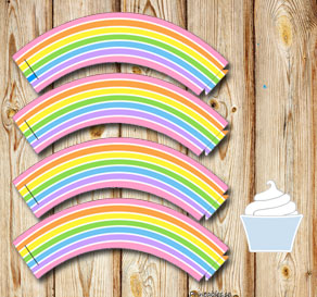 Cupcake wrapper light rainbow  | Free printable cupcake wrappers and toppers
