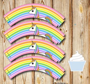 Striped cupcake wrappers in light rainbow colors wi...  | Free printable cupcake wrappers and toppers
