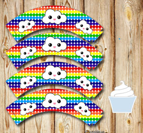 Dotted cupcake wrappers in rainbow colors with clouds  | Free printable cupcake wrappers and toppers
