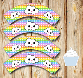 Dotted cupcake wrappers in light rainbow colors wit...  | Free printable cupcake wrappers and toppers