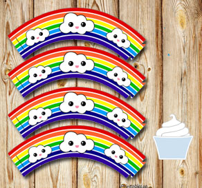 Striped cupcake wrappers in rainbow colors with clouds  | Free printable cupcake wrappers and toppers