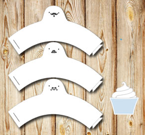 White cupcakewrappers with mustach ghosts  | Free printable for Halloween