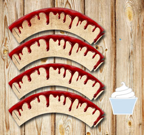 Cupcakewrappers in old vintage paper with blood  | Free printable for Halloween