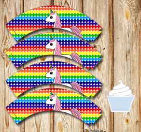 Dotted cupcake wrappers in rainbow colors with a un...  | Free printable cupcake wrappers and toppers