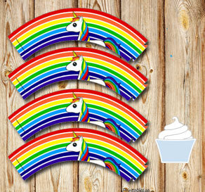 Striped cupcake wrappers in rainbow colors with a u...  | Free printable cupcake wrappers and toppers