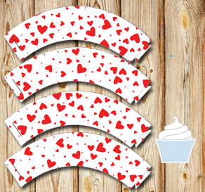 White cupcake wrappers with red hearts  | Free printable for Valentines day