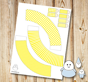Egg people: Yellow skirts  | Free printable for Easter