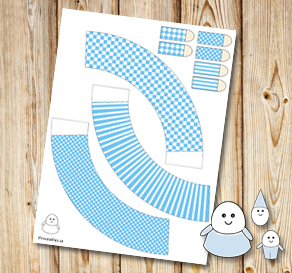 Egg people: Light blue skirts  | Free printable for Easter