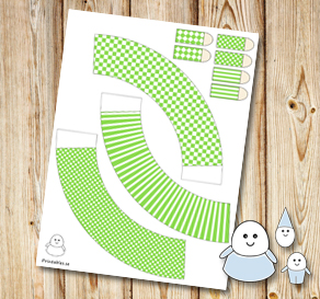 Egg people: Light green skirts  | Free printable for Easter