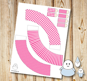 Egg people: Pink skirts  | Free printable for Easter