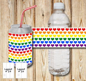 Bottle labels with colorful hearts 2  | Free printable for Valentines day
