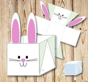 White easter basket (box) with cute easter bunny an...  | Free printable for Easter