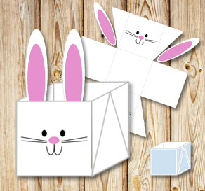White easter basket (box) with cute easter bunny  | Free printable for Easter