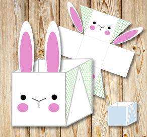 White easter basket (box) with simple easter bunny ...  | Free printable for Easter