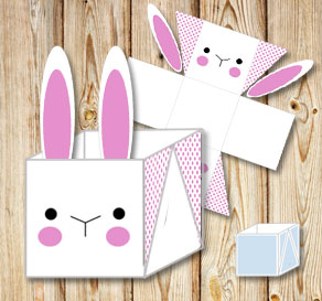 White easter basket box with simple easter bunny and yellow dots white easter basket box with simple easter bunny and pink dots negle Gallery