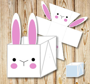 White easter basket (box) with simple easter bunny  | Free printable for Easter