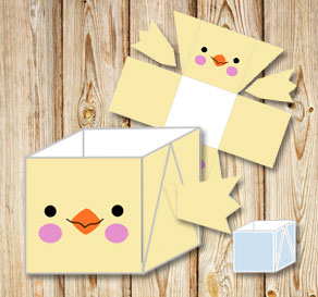 Yellow easter basket (box) with easter chick  | Free printable for Easter