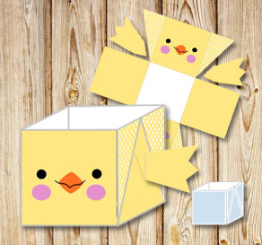 Yellow and dotted easter basket (box) with easter c...  | Free printable for Easter