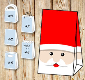 Gift bag with Santa Claus  | Free printable for Christmas