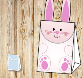 Gift bag: Cute light pink easter bunny  | Free printable for Easter