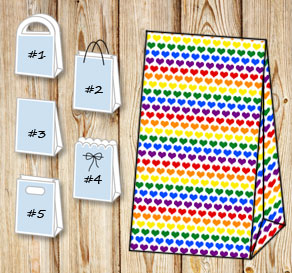 Gift bag with colorful hearts  | Free printable for Valentines day