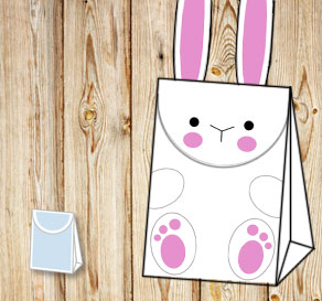 Gift bag: White easter bunny with feet  | Free printable for Easter