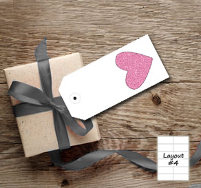 White gift tags with pink glitter hearts  | Free printable for Valentines day