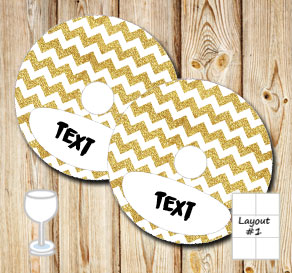 Golden chevron pattern glass markers  | Free printable glass markers