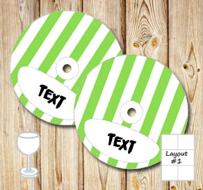Green and white striped glass markers  | Free printable glass markers