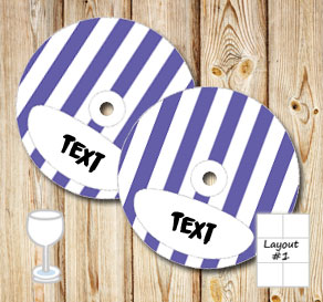 Purple and white striped glass markers  | Free printable glass markers