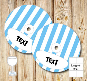 Light blue and white striped glass markers  | Free printable glass markers