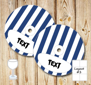 Dark blue and white striped glass markers  | Free printable glass markers
