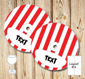 Red and white striped glass markers  | Free printable glass markers